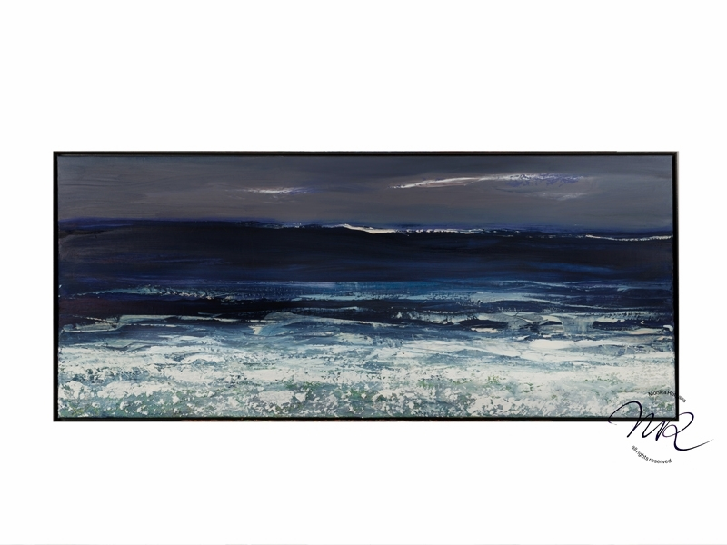 Deep Blue Surf Layered oil-paint & lime on canvas 60 x 140 cm, € 9200