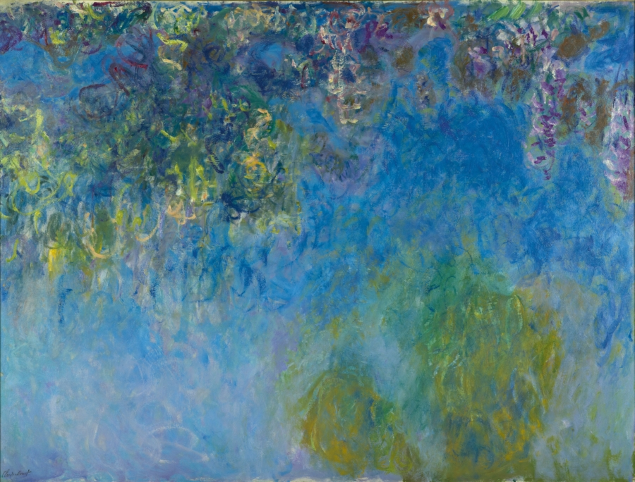 Claude Monet Wisteria, ca 1925, 154 x 203, Gemeentemuseum The Hague. A revolution in painting, the unlimited use of blue and green pigments.