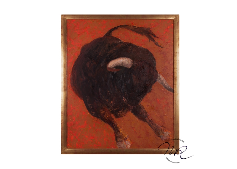Toro Noble 5 Layered oil-paint on canvas, 120 x 100 cm., € 8200 inclusive steel frame