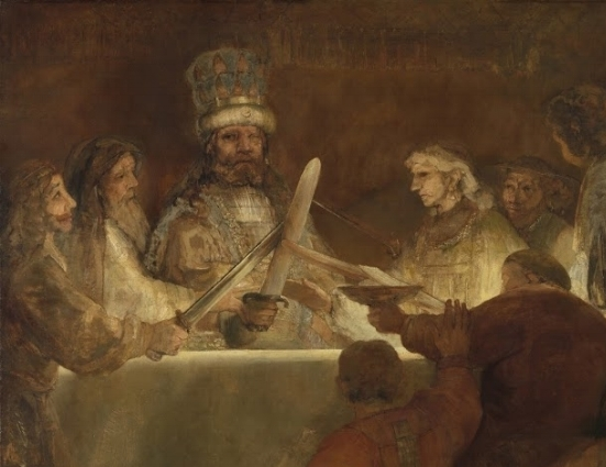 Rembrandt's 'Claudius Civilus', c 1661. A severely discoloured and mutilated painting which has lost most of its original vivid Blue, Green, Red and Yellow. Original size 550 x 550 cm, current size 309 x 196 cm.